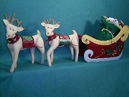 Collectible Cloth Doll - Santa's Sleigh & Reindeer
