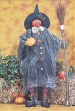 Collectible Cloth Doll - Pumpkin Witch