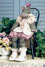 Collectible Cloth Doll - Rosebud - Hippo